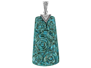 Blue Turquoise Carved Floral Silver Enhancer