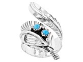 Turquoise  Sleeping Beauty Silver Feather Bypass Ring