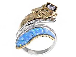 Blue Opal Simulant Silver And 18kt Gold Over Silver Two-Tone Ring 1.75ctw