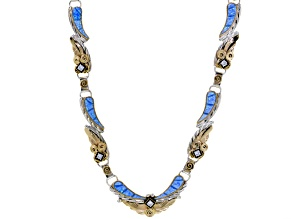 Blue Opal Simulant Silver And 18kt Gold Over Silver Necklace 13.75ctw