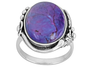 Purple Turquoise Solitaire Sterling Silver Ring