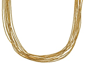 Liquid Silver 10 Strand 18k Yellow Gold Over Silver Necklace 20 Inch