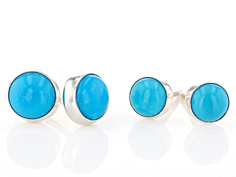 Turquoise Sleeping Beauty Sterling Silver Earring Set Of Two Pairs