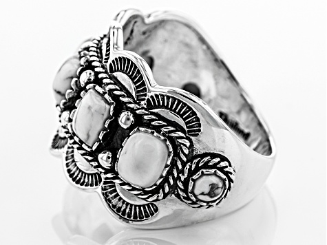 White Magnesite Sterling Silver Ring.