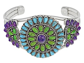 Purple, Green And Blue Turquoise Sterling Silver Cuff Bracelet.