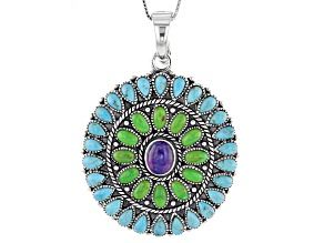 Purple, Green And Blue Turquoise Sterling Silver Enhancer With Chain.