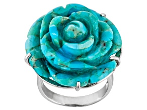 Blue Turquoise Sterling Silver Carved Rose Ring