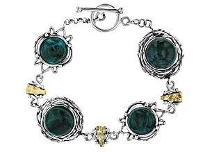 12mm And 14mm Round Peacock Rock Silver And Gold Over Silver Bracelet