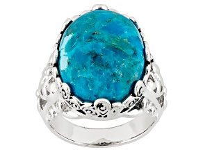 Blue Turquoise Sterling Silver Solitaire Ring