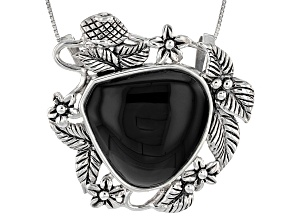 Black Onyx Sterling Silver Pendant With Chain.