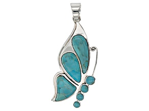 Blue Turquoise Silver Butterfly Pendant