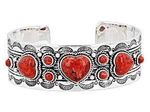 Red Sponge Coral Silver Heart Cuff Bracelet