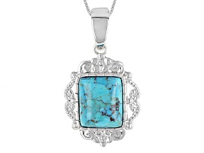 Blue Turquoise Silver Enhancer With Chain