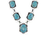 Blue Kingman Turquoise Sterling Silver Necklace