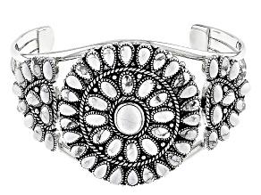 White Magnesite Silver Cuff Bracelet