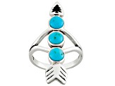 Blue Turquoise Silver Arrow Ring