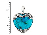 Blue Turquoise Sterling Silver Heart Pendant With Chain