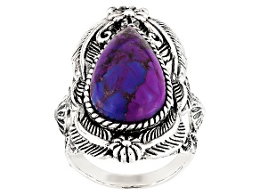 Purple Turquoise Silver Solitaire Ring