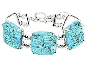 Blue Turquoise Carved Rose Silver Bracelet