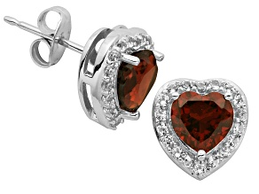 Garnet And Topaz Sterling Silver Stud Earrings 1.60ctw
