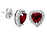 Synthetic Ruby And Synthetic White Sapphire Sterling Silver Stud Earrings