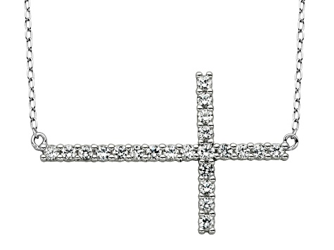 Synthetic White Sapphire Sterling Silver Cross Necklace .53ct