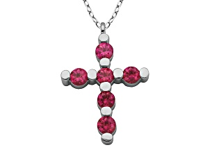Lab Created Ruby Sterling Silver Cross Pendant With Chain .67ct