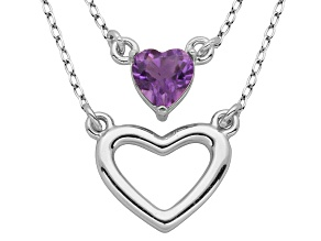 Amethyst Sterling Silver Heart Necklace .35ct
