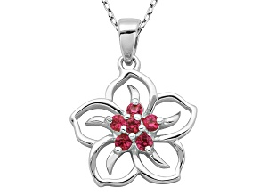 Lab Created Ruby Sterling Silver Flower Pendant With Chain .23ct