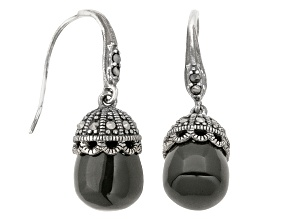 Black Agate And Marcasite Sterling Silver Dangle Earrings