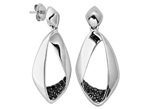 Black Spinel Sterling Silver Dangle Earrings .36ctw