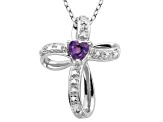 Amethyst And Diamond Sterling Silver Cross Pendant With Chain