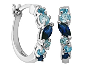 Synthetic Blue And White Sapphire Sterling Silver Hoop Earrings