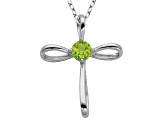 Peridot Sterling Silver Cross Pendant With Chain .21ctw