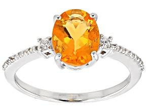 Orange Brazilian Fire Opal Sterling Silver Ring 1.21ctw