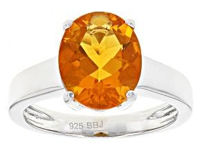 Orange Brazilian Fire Opal Sterling Silver Ring 1.90ct
