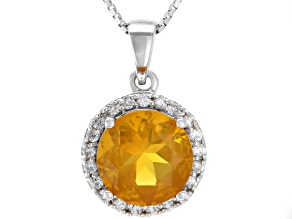 Orange Mexican Fire Opal Sterling Silver Pendant With Chain 2.17ctw