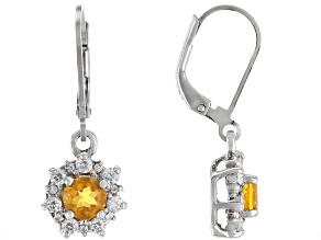 Orange Fire Opal Sterling Silver Dangle Earrings 1.28ctw