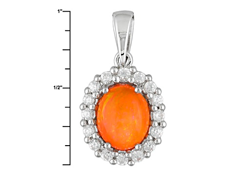 Orange Ethiopian Opal Sterling Silver Pendant With Chain 2.11ctw