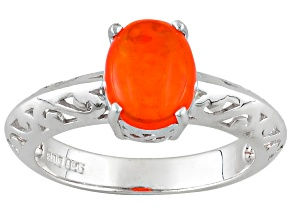 Orange Ethiopian Opal Sterling Silver Ring .91ct