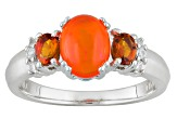 Orange Ethiopian Opal Sterling Silver Ring .74ctw