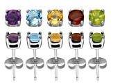 Set Of 5 Sterling Silver Stud Earrings Topaz, Amethyst, Garnet, Citrine, Peridot