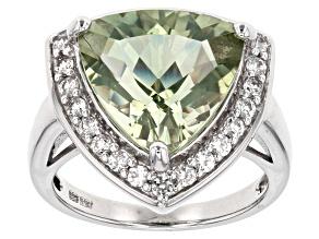 Green Prasiolite Sterling Silver Ring 6.04ctw