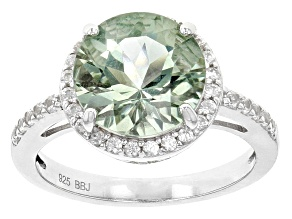 Green Prasiolite Sterling Silver Solitaire Ring 2.88ct