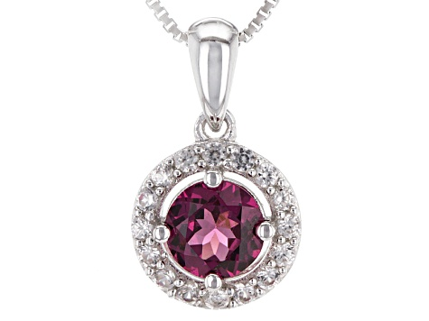 Purple Rhodolite Sterling Silver Pendant With Chain .94ctw