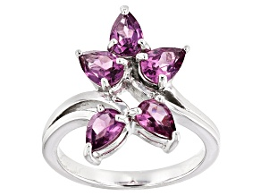 Raspberry color Rhodolite Sterling Silver Ring 1.95ctw