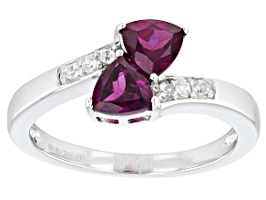 Raspberry color Rhodolite Sterling Silver Ring 1.04ctw