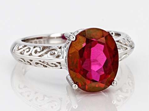 Red Peony(TM) Mystic Topaz(R) Sterling Silver Ring 3.89ct