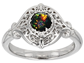 Black Ethiopian Opal Sterling Silver Solitaire Ring .25ct