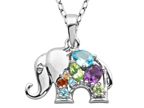 Topaz, Amethyst, Garnet, Citrine And Peridot Sterling Silver Elephant Pendant With Chain